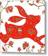 Chinese Astrology Rabbit Metal Print