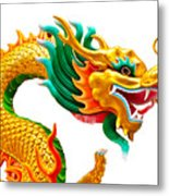 Chinese Beautiful Dragon Isolated On White Background Metal Print