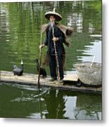 Chinese Cormorant Fisherman Metal Print