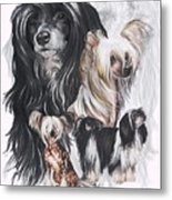 Chinese Crested And Powderpuff W/ghost Metal Print