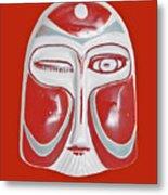 Chinese Porcelain Mask Red Metal Print