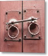 Chinese Red Door With Lock Metal Print