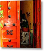 Chinese Red Shop Door Metal Print