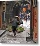 Chinese Woman Carrying Vegetables Metal Print