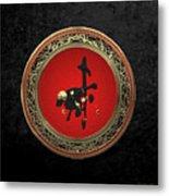 Chinese Zodiac - Year Of The Goat On Black Velvet Metal Print