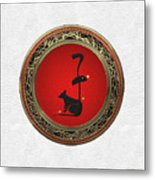 Chinese Zodiac - Year Of The Rat On White Leather Metal Print