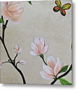 Chinoiserie - Magnolias And Birds #3 Metal Print