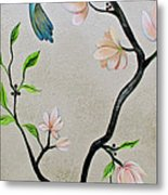 Chinoiserie - Magnolias And Birds #5 Metal Print