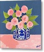 Chinoiserie Vase 2 Metal Print