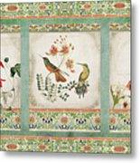 Triptych - Chinoiserie Vintage Hummingbirds N Flowers Metal Print