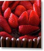 Chocolate And Strawberry Cake Metal Print