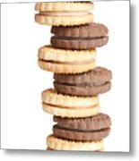 Chocolate And Vanilla Creamed Filled Cookies  Metal Print