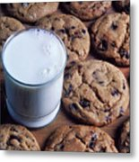Chocolate Chip Cookies And Glass Of Milk Metal Print