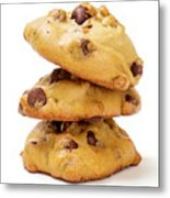 Chocolate Chip Cookies Isolated On White Background Metal Print