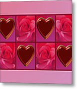 Chocolate Hearts And Roses Metal Print