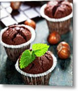 Chocolate Muffins Metal Print