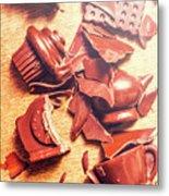 Chocolate Tableware Destruction Metal Print