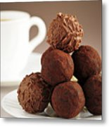 Chocolate Truffles And Coffee Metal Print