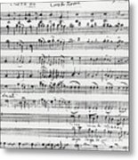 Chorus Of Shepherds, Handwritten Score Of The Opera Ascanio In Alba Metal Print