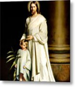 Christ And The Young Child Metal Print