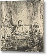 Christ At Emmaus: The Larger Plate Metal Print