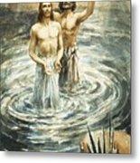 Christ Being Baptised Metal Print