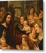 Christ Blessing The Children Metal Print