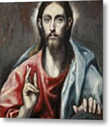 Christ Blessing, The Saviour Of The World Metal Print