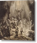 Christ Crucified Between The Two Thieves  The Three Crosses, 1653 Metal Print