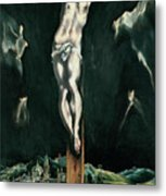 Christ Crucified With Toledo In The Background Metal Print
