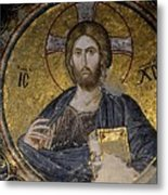Christ Holds Bible In Mosaic At Chora Church Istanbul Turkey Metal Print