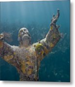 Christ Of The Abyss Statue On Dry Rocks Reef In Key Largo Florida Metal Print
