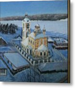Christ Risen Church In Ples, Ivanovo Region Metal Print