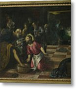 Christ Washing The Feet Of The Disciples Metal Print