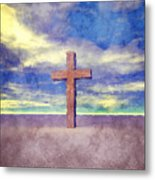 Christian Cross Landscape Metal Print