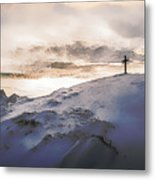 Christian Cross On Mountain Metal Print