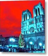 Christmas At Notre Dame Pop Art Metal Print
