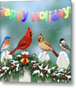 Christmas Birds And Garland Metal Print by Crista Forest