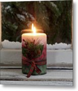 Christmas Candle Glowing On Window Sill With Snowy Evergreen Bra Metal Print