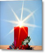 Christmas Candle With Starburst And Holly. Metal Print