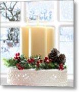 Christmas Candles Display Metal Print