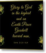 Christmas Card With Scripture - Luke 2 14 Metal Print