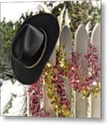 Christmas Cowboy Hat On Fence - Merry Christmas  Metal Print