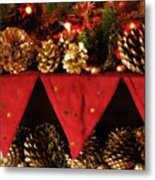 Christmas Decorations Of Garlands And Pine Cones Metal Print