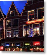 Christmas Decorations On Buildings In Bruges City Metal Print