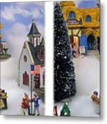 Christmas Display - Gently Cross Your Eyes And Focus On The Middle Image Metal Print
