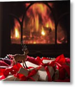 Christmas Gifts By The Fireplace Metal Print