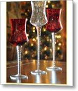 Christmas Glass Candle Holders Metal Print