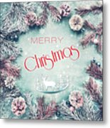 Christmas Greeting Card, By Imagineisle Metal Print
