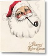 Christmas Greetings 1229 - Vintage Christmas Cards - Santa Claus With Pipe Metal Print